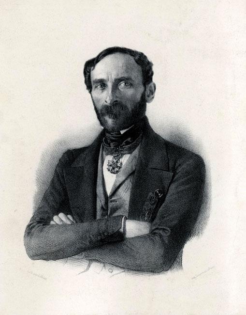 Grafika w technice litografii przedstawiająca portret francuskiego reprezentanta władzy wykonawczej we Francji E. Cavaignaca