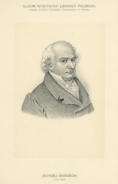 Portret Jerzego Śniadeckiego (1768-1838) pochodzi z albumu wybitnych lekarzy polskich wydanego w Poznaniu na początku XX wieku. Rycina w technice światłodruku.