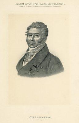 Portret Józefa Czekierskiego (1777-1826) pochodzi z albumu wybitnych lekarzy polskich wydanego w Poznaniu na początku XX wieku. Rycina w technice światłodruku z litografii.