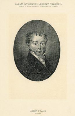 Portret Józefa Franka (1771-1842) pochodzi z albumu wybitnych lekarzy polskich wydanego w Poznaniu na początku XX wieku. Rycina w technice światłodruku z miedziorytu.