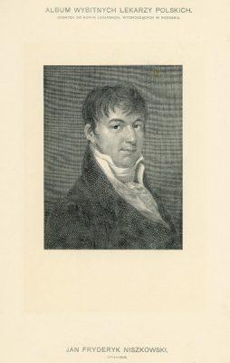 Portret Jana Fryderyka Niszkowskiego (1774-1816) pochodzi z albumu wybitnych lekarzy polskich wydanego w Poznaniu na początku XX wieku. Rycina w technice światłodruku z miedziorytu.