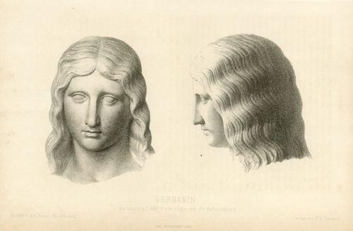 Oryginalna litografia z przedstawieniem marmurowej rzeźby Germanina z Ermitażu w Sankt Petersbutgu. Grafikę wykonał Hans Macht