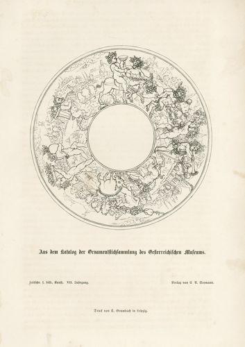 Oryginalny drzeworyt z przedstawieniem ornamentu z katalogu zbiorów ornamentów w austriackich muzeach. Grafika powstała w 1872 r.