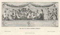 Oryginalna rycina z przedstawieniem dekoracyjnego fryzu w auli szkoły realnej w Dusseldorfie. Grafika powstała w 1872 r.