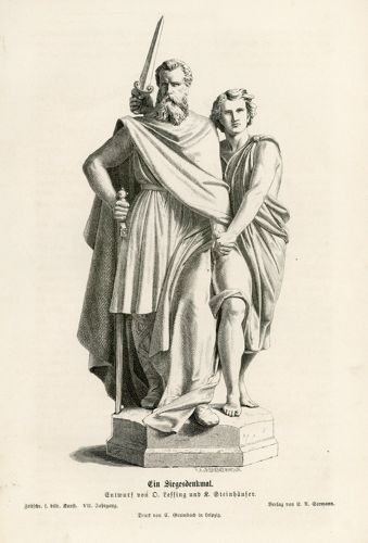 Oryginalny drzeworyt z przedstawieniem pomnika zwycięstwa autorstwa Otto Lessinga i Carla Johanna Steinhäusera. Grafika powstała w 1872 r.