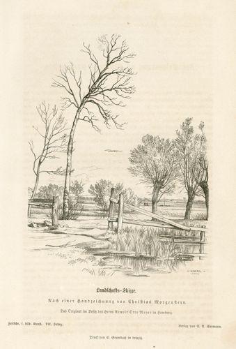 Oryginalna rycina z przedstawieniem pejzażu wykonanego według rysunku Christiana Morgensterna. Grafikę wykonał K. Bertel w 1872 r.