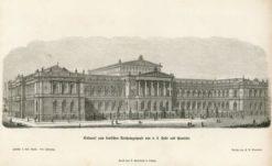Oryginalna rycina z przedstawieniem niemieckiego Reichstagu projektu Hermanna von der Hude i Juliusa Hennicke. Grafika powstała w 1872 r.
