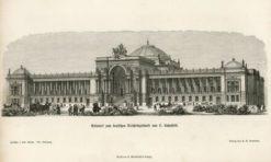 Oryginalna rycina z przedstawieniem niemieckiego Reichstagu projektu Ludwiga Bohnstedta. Grafika powstała w 1872 r.