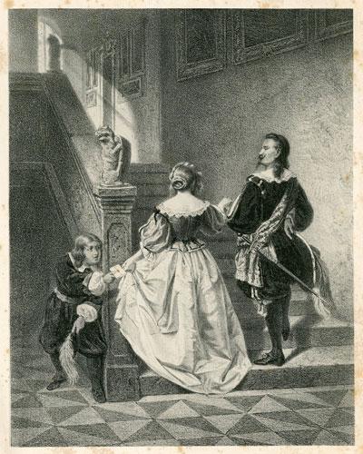 Niesygnowana litografia przedstawiająca damę przekazującą potajemnie posłańcowi liścik wykonana pod koniec XIX wieku.