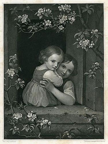 Wysokiej klasy grafika przedstawiająca 2 dziewczynki w oknie. W połowie XIX wieku wykonał ją grafik z Norymbergi Carl Mayer