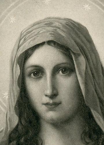 przedstawia Matkę Boską z lilią i sercem przebitym mieczem. W lewym dolnym rogu: O. Voelkel pinx.