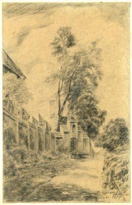 Rysunek na papierze autorstwa K. Rosenfelda przedstawiający drogę przy murze.