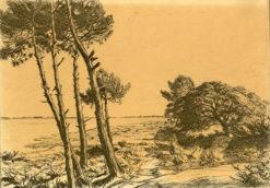 Niesygnowana grafika wykonana w technice miękkiego werniksu w latach 20-tych XX wieku.