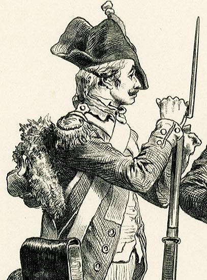 przedstawiająca stroje francuskiego wojska z lat 1790-tych.