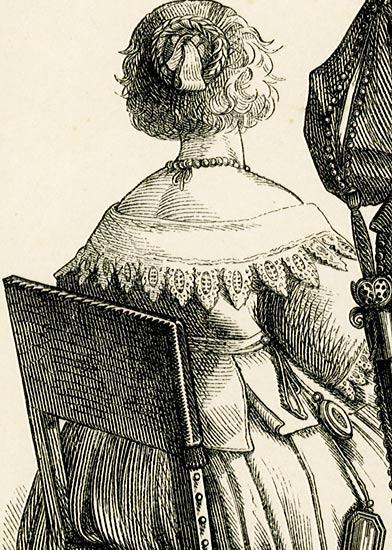 przedstawiająca 2 damy i szlachcica w strojach z połowy XVII w..
