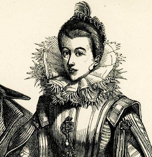 przedstawiająca mężczyznę i kobietę w XVII-wiecznych strojach.