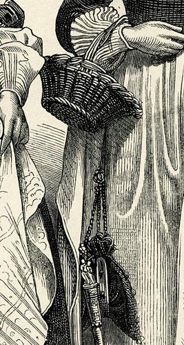 przedstawiająca 2 kobiety w strojach holenderskich w połowie XVII w.