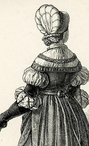 przedstawiająca kobiety w strojach historycznych.