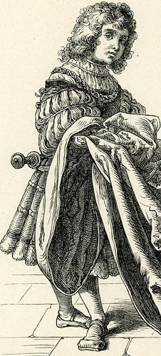 przedstawiająca damę oraz dziecko niosące tren jej sukni.
