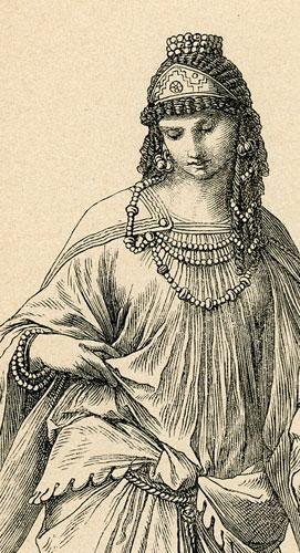 przedstawiająca kobietę i mężczyznę w starożytnych strojch