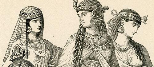 przedstawia kobiety w starożytnych strojach.
