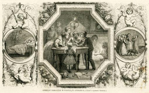 Grafika wykonana technika drzeworytu sztorcowego ok. 1880 roku wg układu i rysunku Gersona przedstawiająca obrzędy doroczne - wigilię św. Andrzeja