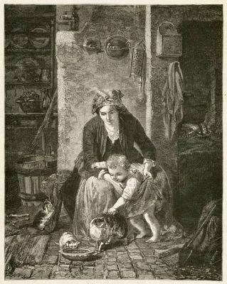 """Grafika w technice drzeworytu sztorcowego przedstawiająca obraz Meyerheima """"Pociecha matuli"""". Grafika wykonana w latach 1870-tych"""