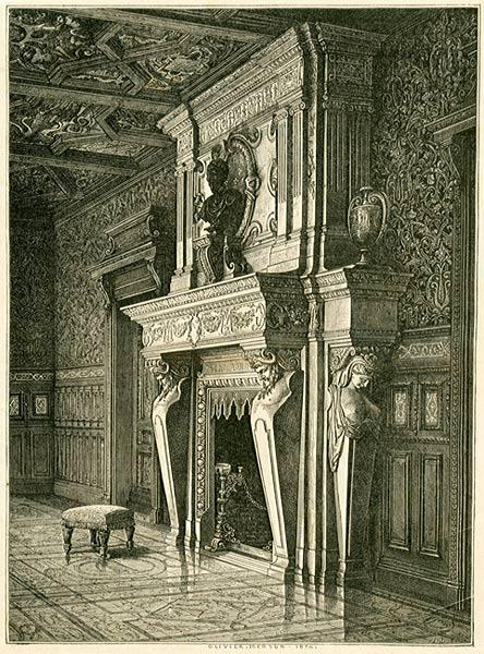 Grafika w technice drzeworytu sztorcowego przedstawiająca kominek w salonie w Saint Roch. Olivier Merson