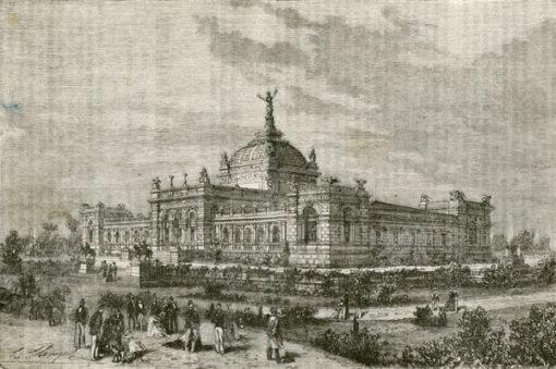 Grafika w technice drzeworytu sztorcowego przedstawiająca budynek wystawy światowej w Filadelfii w 1876 r.