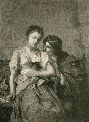 Grafika w technice drzeworytu sztorcowego przedstawiająca rozmowę młodej pary