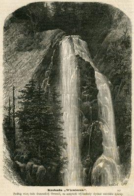 Grafika w technice drzeworytu sztorcowego przedstawiająca wodospad we Francji ( w Owernii)
