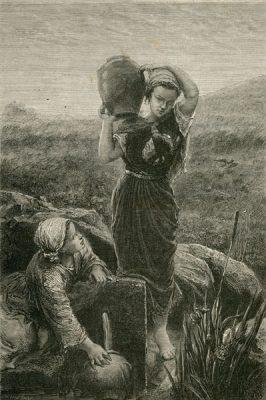 Grafika w technice drzeworytu sztorcowego przedstawiająca 2 dziewczyny nabierające w dzbany wodę ze źródła. Wykonana w latach 1870-tych.