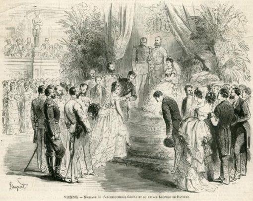 Grafika w technice drzeworytu sztorcowego przedstawiająca uroczystość zaślubin księżnej Gisele i księcia Leopolda w Wiedniu. Wykonana w latach 1870-tych.