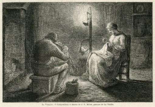 Grafika w technice drzeworytu sztorcowego przedstawiająca rodziców czuwających przy łóżeczku dziecka. Grafika wg J.F. Milleta została wykonana przez La Vieille'a w latach 1880-tych.