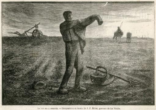 Grafika w technice drzeworytu sztorcowego przedstawiająca mężczyzne kończącego prace na polu. Grafika wg Jean Francois Milleta została wykonana przez La Vieille'a w latach 1880-tych.
