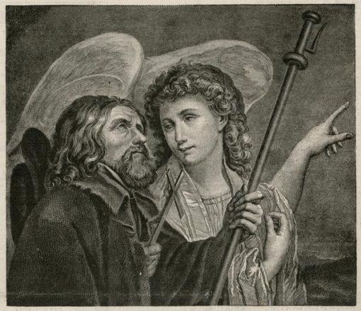 Grafika w technice miedziorytu przedstawiająca Anioła Stróża wskazująca drogę mężczyźnie. Grafika pochodzi z lat 1870-80.