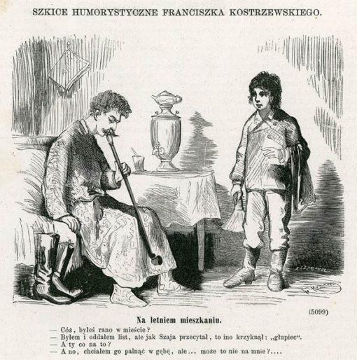 Grafika wykonana w technice drzeworytu sztorcowego w 1878 r. przedstawia szkic humorystyczny Franciszka Kostrzewskiego pt. Na letniem mieszkaniu.