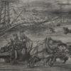 Rysunek kredką na papierze przedstawiający wóz z drewnem ciągnięty przez konie. Sygnowany: