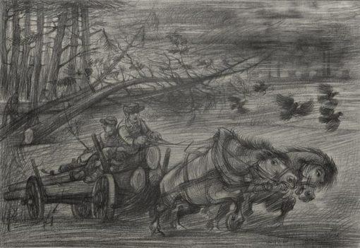 """Rysunek kredką na papierze przedstawiający wóz z drewnem ciągnięty przez konie. Sygnowany: """"M. Siwek"""". Lata 80-te XX wieku."""
