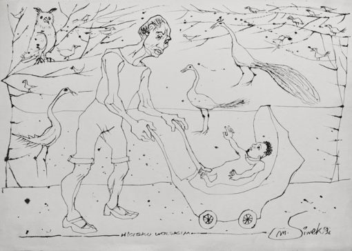Rysunek tuszem na papierze przedstawiający spacer z dzieckiem w wózku po lasku Wolskim w Krakowie. Sygnowany: M. Siwek '96.