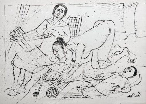 """Rysunek tuszem na papierze przedstawiający kobiety cerujące dywan. Sygnowany: """"M. Siwek '96""""."""