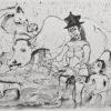 Rysunek tuszem na papierze przedstawiający kobietę z dzieckiem prowadzącą zwierzęta podczas deszczu. Sygnowany: