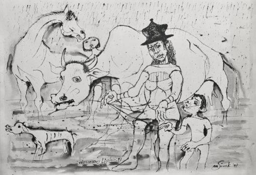 """Rysunek tuszem na papierze przedstawiający kobietę z dzieckiem prowadzącą zwierzęta podczas deszczu. Sygnowany: """"M. Siwek '97""""."""