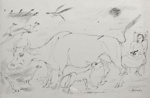 """Rysunek tuszem na papierze przedstawiający kobietę doglądającą zwierzęta w stajni. Sygnowany: """"M. Siwek '96""""."""