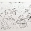 Rysunek tuszem na papierze przedstawiający garbatego rikszarza wiozącego klienta. Sygnowany: