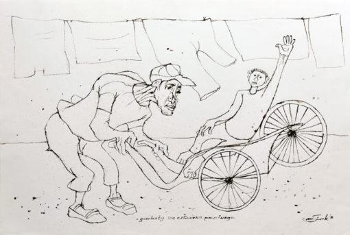 """Rysunek tuszem na papierze przedstawiający garbatego rikszarza wiozącego klienta. Sygnowany: """"M. Siwek '96""""."""