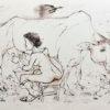 Rysunek tuszem na papierze przedstawiający kobietę dojącą krowę podczas deszczu. Sygnowany: