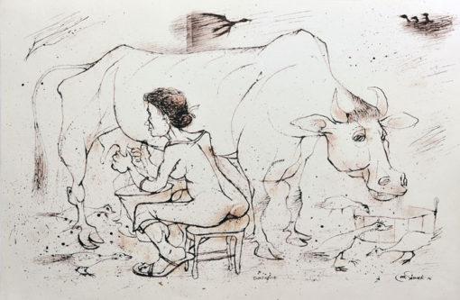 """Rysunek tuszem na papierze przedstawiający kobietę dojącą krowę podczas deszczu. Sygnowany: """"M. Siwek '96""""."""
