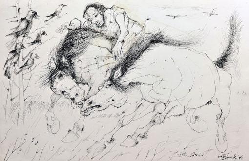 """Rysunek tuszem na papierze przedstawiający zaloty koni. Obraz sygnowany: """"M. Siwek '94""""."""