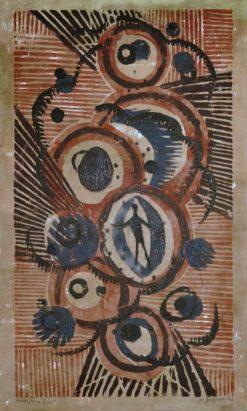 Barwna monotypia autorstwa Witolda Jańczaka (1912-1985) przedstawiająca postać w abstrakcyjnej kompozycji. Sygnowana i datowana: W. Jańczak 1968